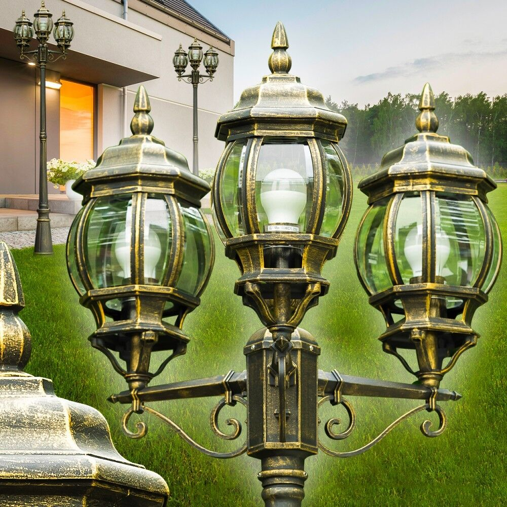 kandelaber wege lampe garten aussen steh leuchte stehlampe laterne braun gold ebay. Black Bedroom Furniture Sets. Home Design Ideas