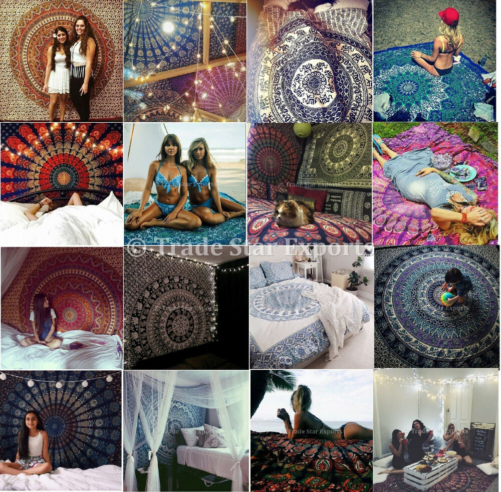 Wholesale lots indian mandala tapestry wall hanging hippie for Lots of pictures on wall