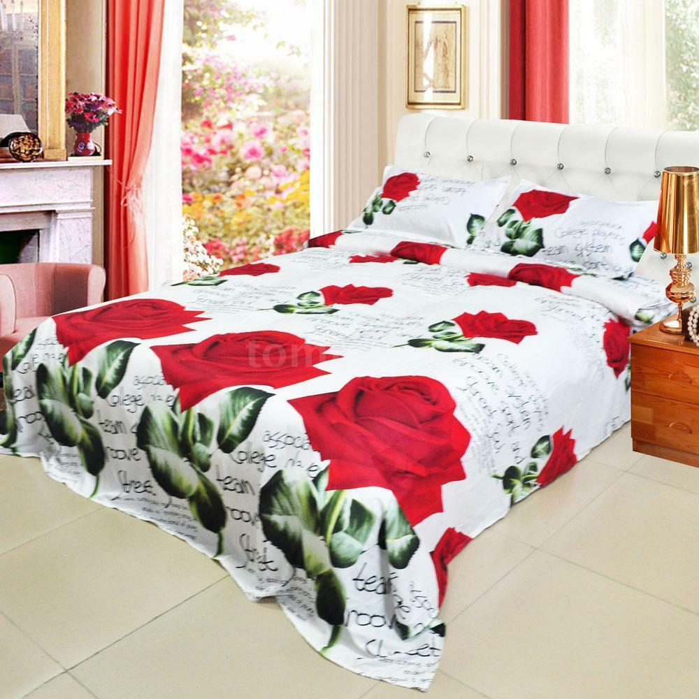 Red rose queen size pillowcases bedding set flower printed duvet cover