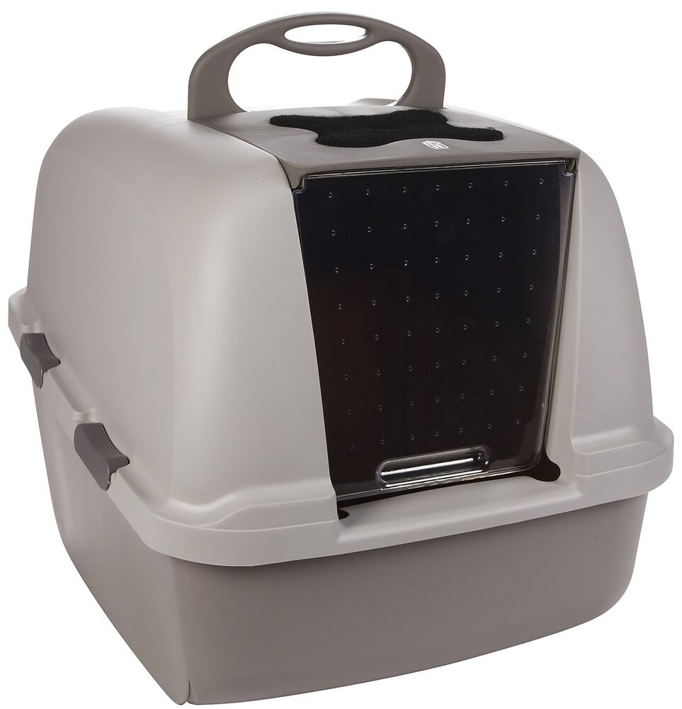 hooded cat litter box kitty pan carbon filter remove odors. Black Bedroom Furniture Sets. Home Design Ideas