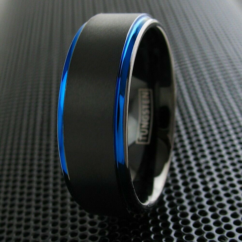 8mm Tungsten Ring Black Amp Blue Brushed Stripe Wedding Band Mens Jewelry