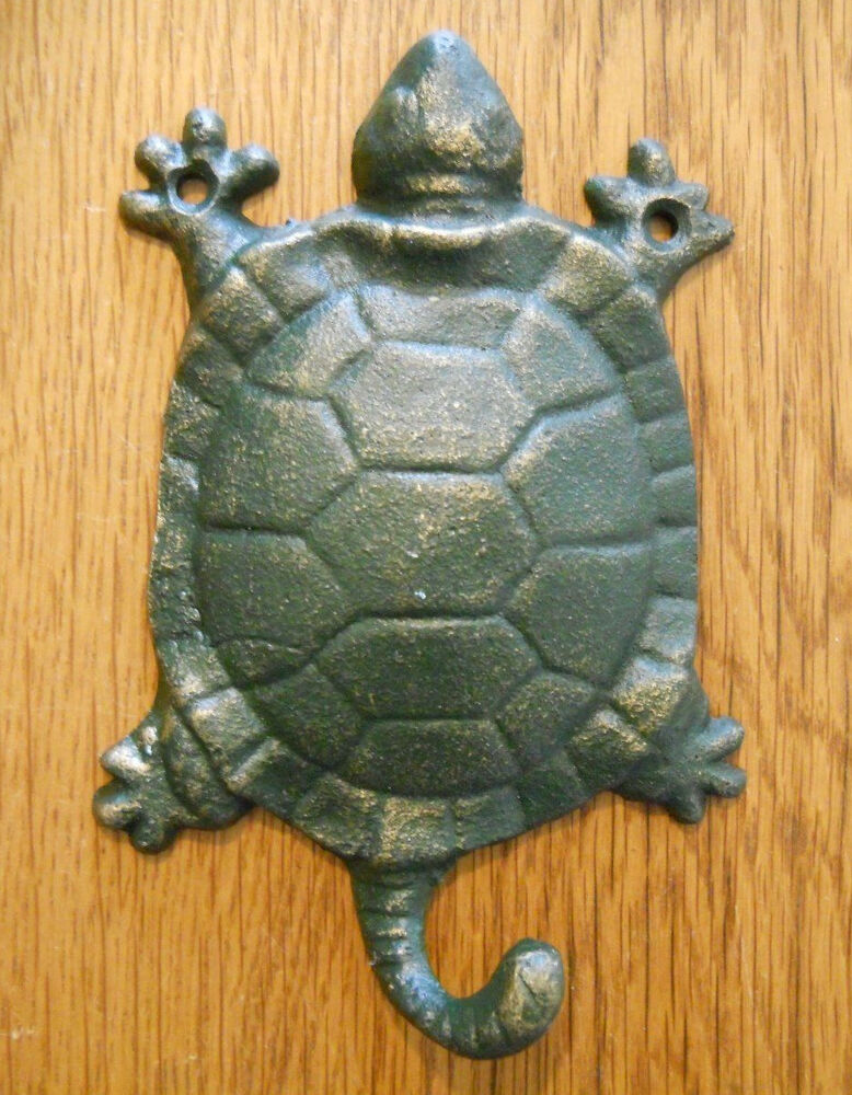 Cast Iron Antique Style Nautical Turtle Coat Hooks Hat