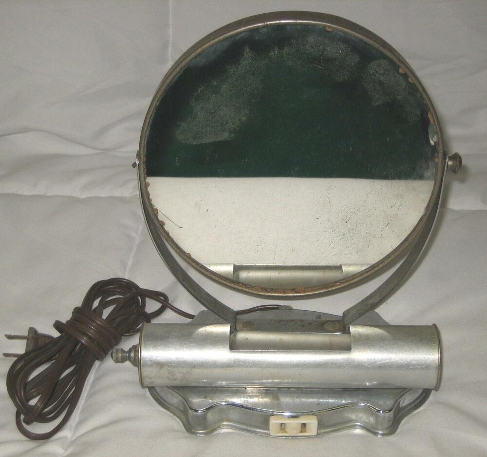 8 VINTAGE METAL SWIVEL ELECTRICAL VANITY MIRROR WITH LIGHT EBay