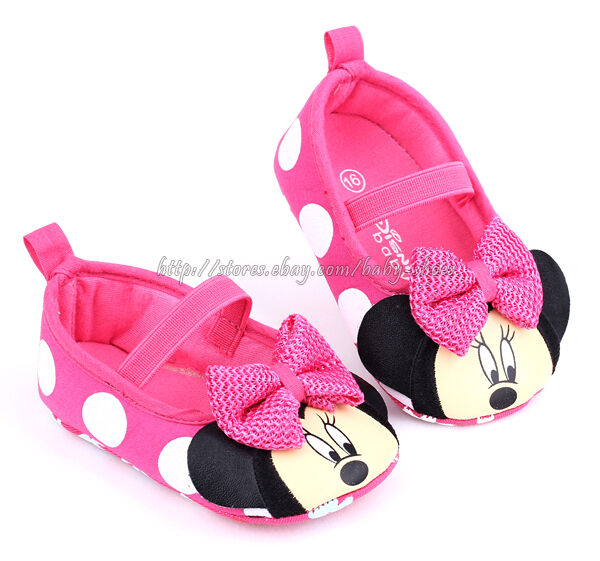 Infant Baby Girl Minnie Mouse Pink Polka Dot Crib Shoes