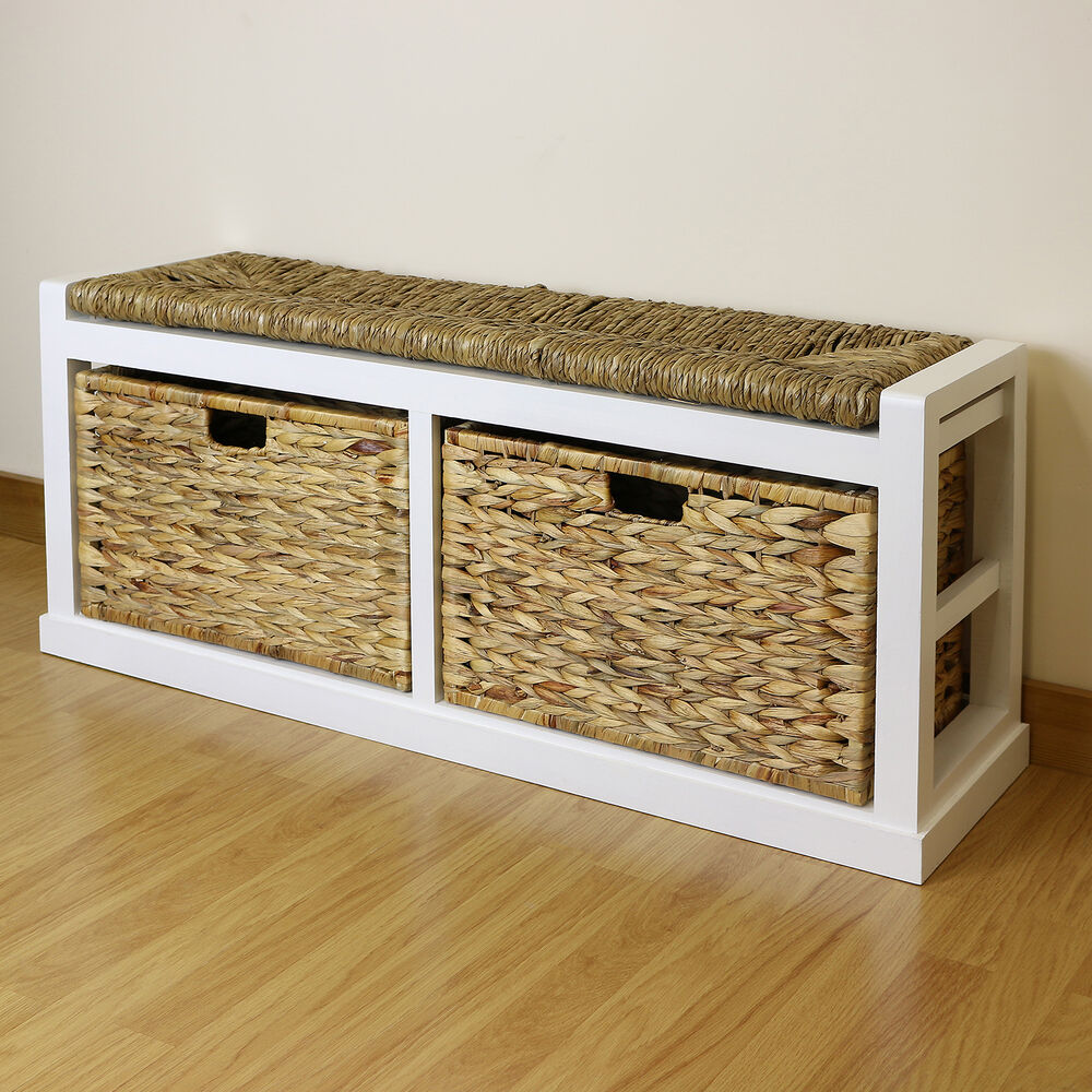 White Farmhouse Twin Seat Hallway Shoe Storage Bench Wicker Cushion 2 Baskets Ebay