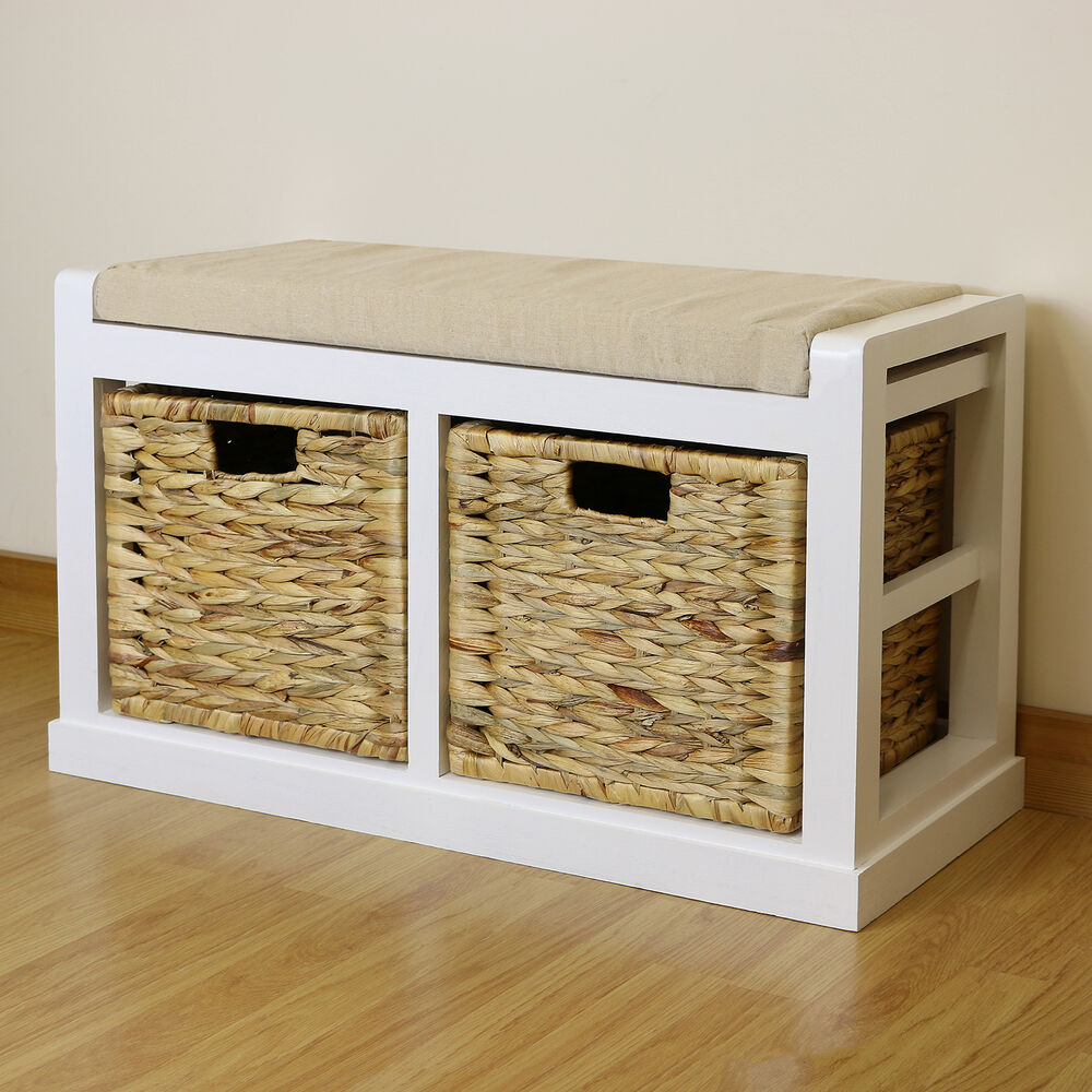 White Hallway Bathroom Shoe Storage Bench Seat Foam