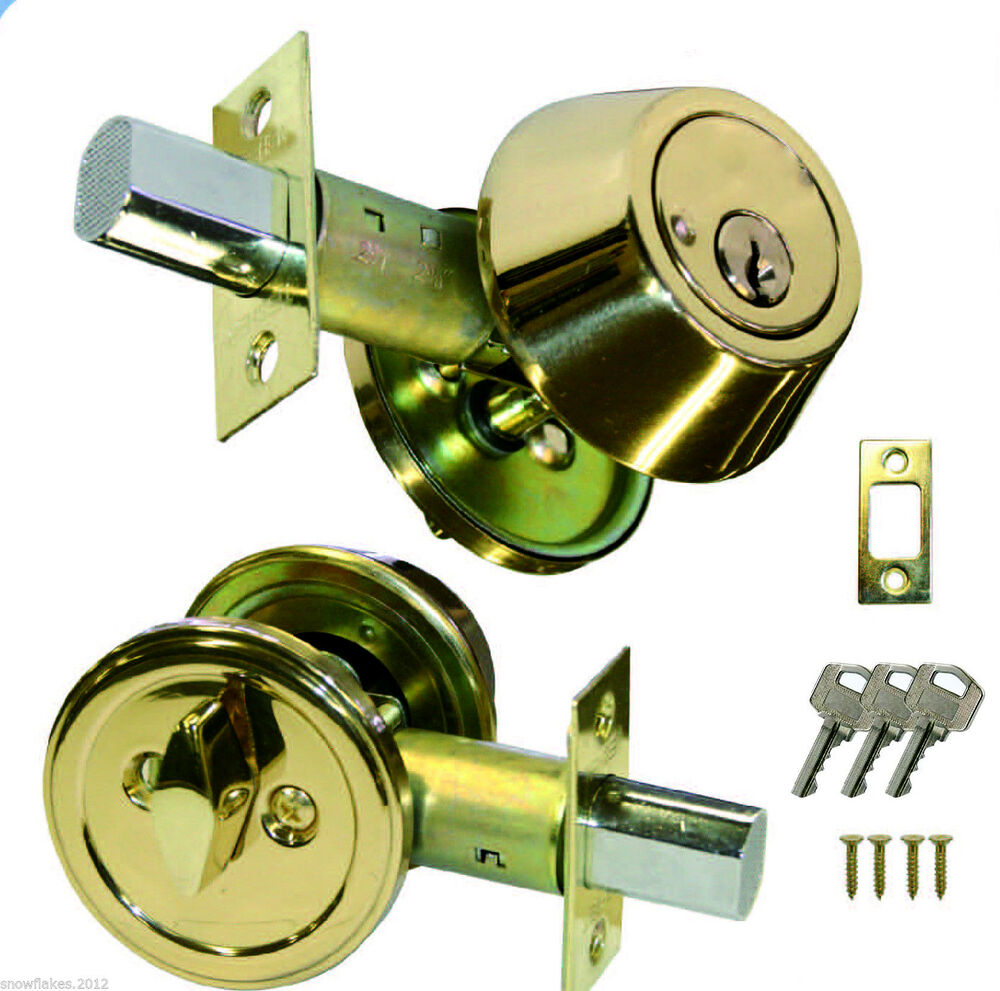New Single Cylinder Deadbolt Door Lock Handle Set