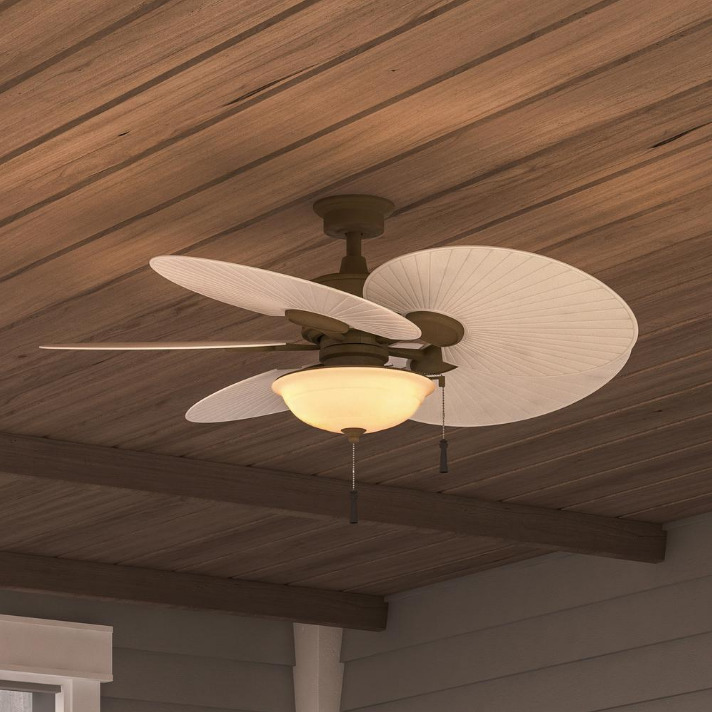 "Tropical Outdoor Ceiling Fan: Outdoor/Indoor 48"" Patio Ceiling Fan + Bowl Light Unique"