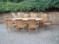 "TEAK GARDEN FURNITURE ""MONTE CARLO"" OVAL 5 STAR PATIO SET QUALITY HUMBER TEAK"
