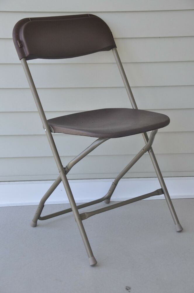 10 Brown Plastic Folding Chairs Stackable Party Event Dining Chair Seminar Se