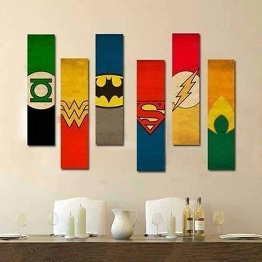 justice league oil painting hand painted art modern wall decor canvas no frame ebay. Black Bedroom Furniture Sets. Home Design Ideas