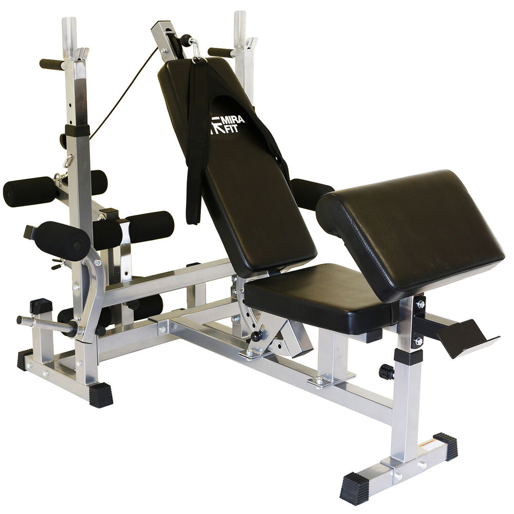 Mirafit Hd Adjustable Weight Bench Home Multi Gym With Dip Station Preacher Curl Ebay