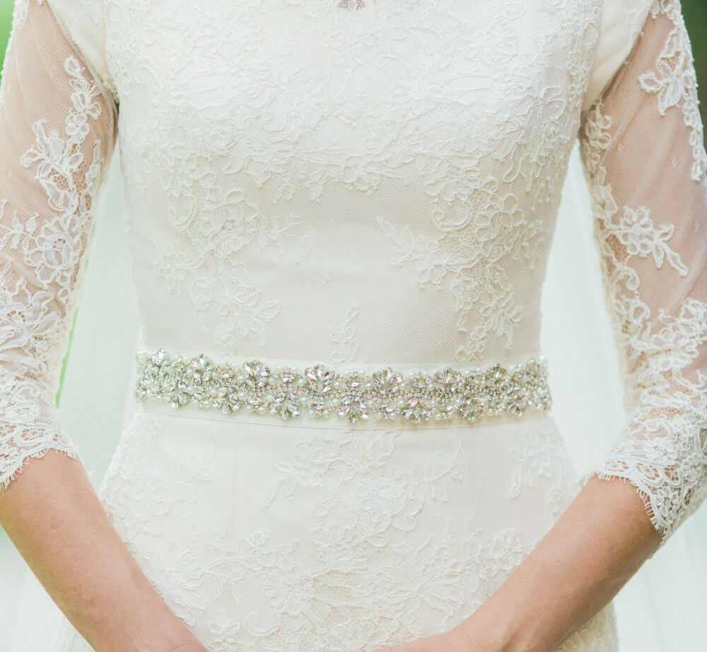 Audrey silver pearl and rhinestone diamante bridal sash for Wedding dress belt sash