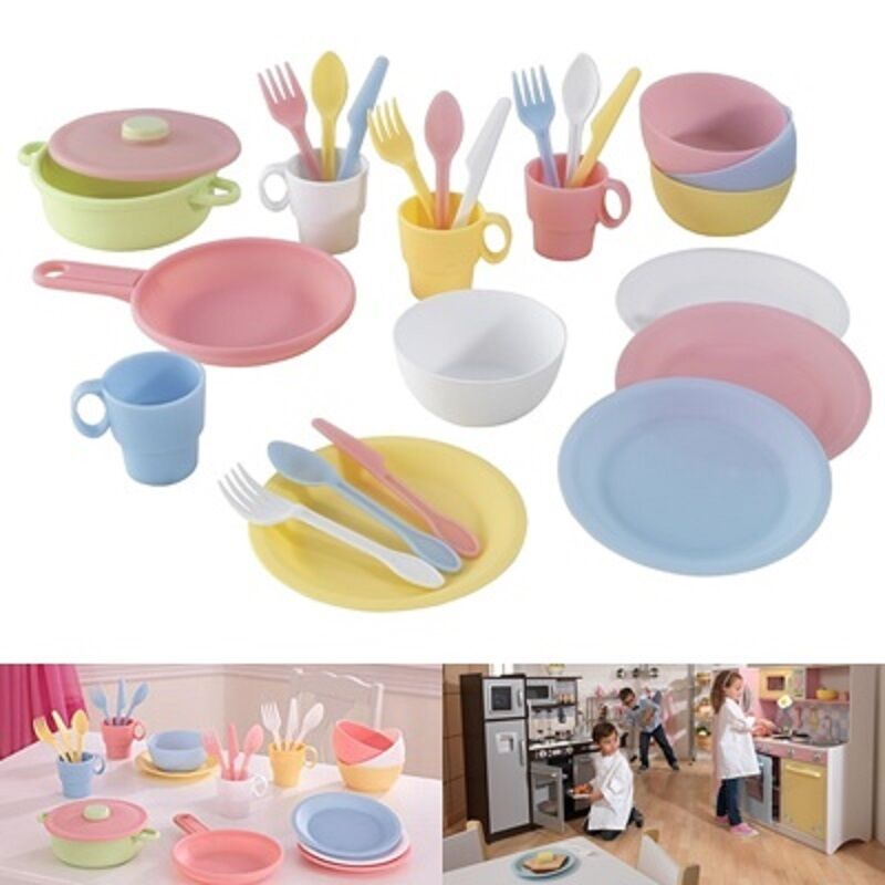 Kids cookware play dish set toys kid dishes plastic pastel