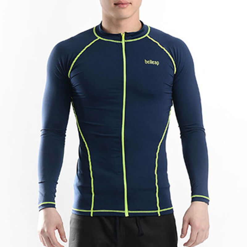 Belleap Rash Guard Mens Zip Up Long Sleeve Swimwear Uv