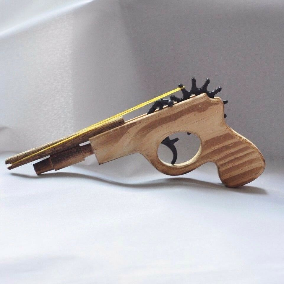 """8.5"""" HANDCRAFTED COWBOY PISTOL WOODEN RUBBER BAND SHOOTING ..."""