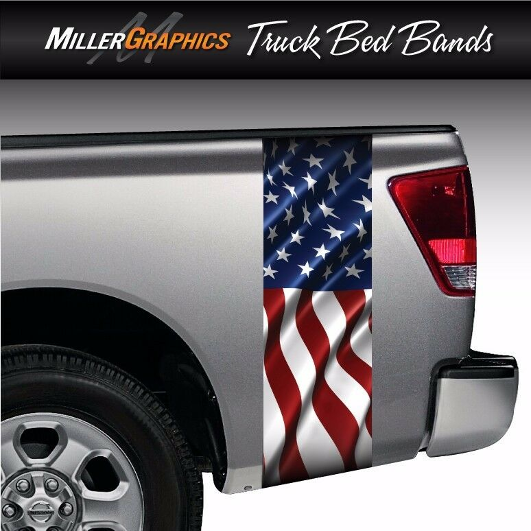 American Flag Waving 3 Truck Bed Band Stripe Decal