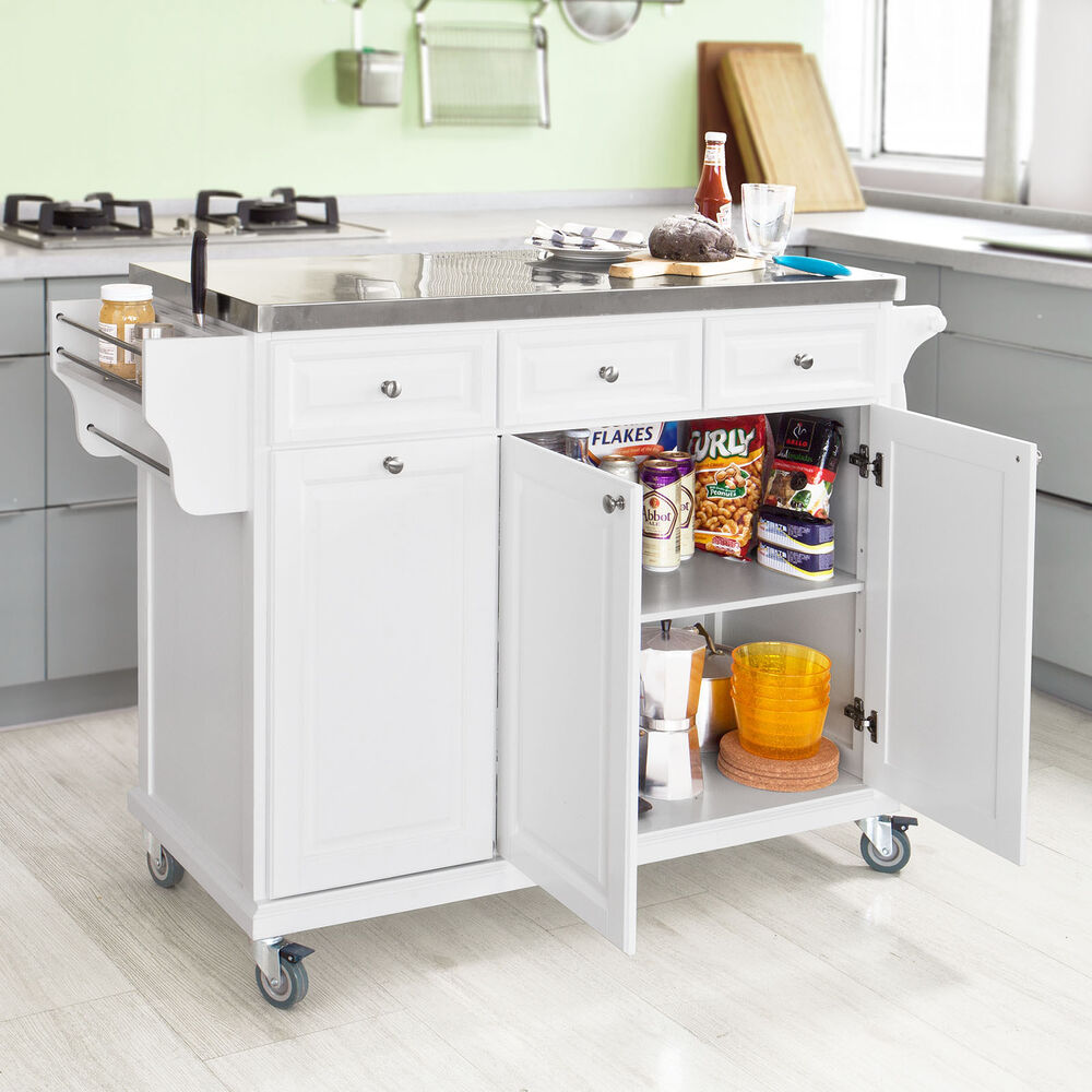 Sobuy Luxury Kitchen Island Unit Kitchen Cabinet Stainless Steel Top Fkw33 W Uk Ebay