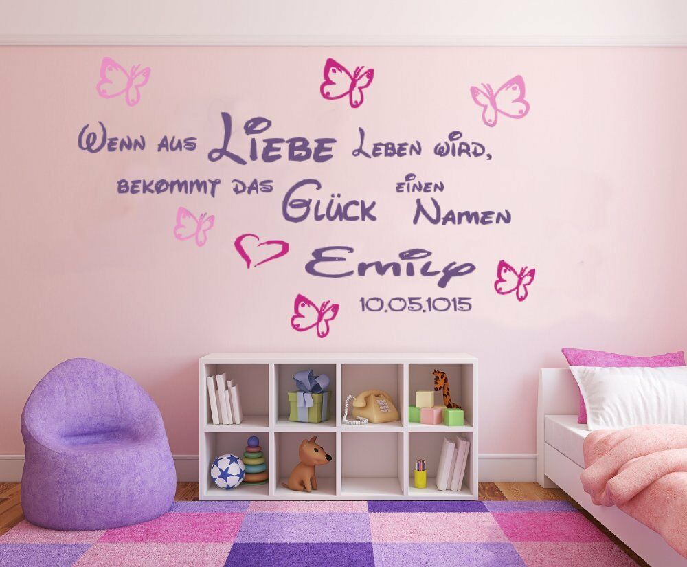 wandtattoo kinderzimmer baby m dchen spruch wenn aus liebe. Black Bedroom Furniture Sets. Home Design Ideas