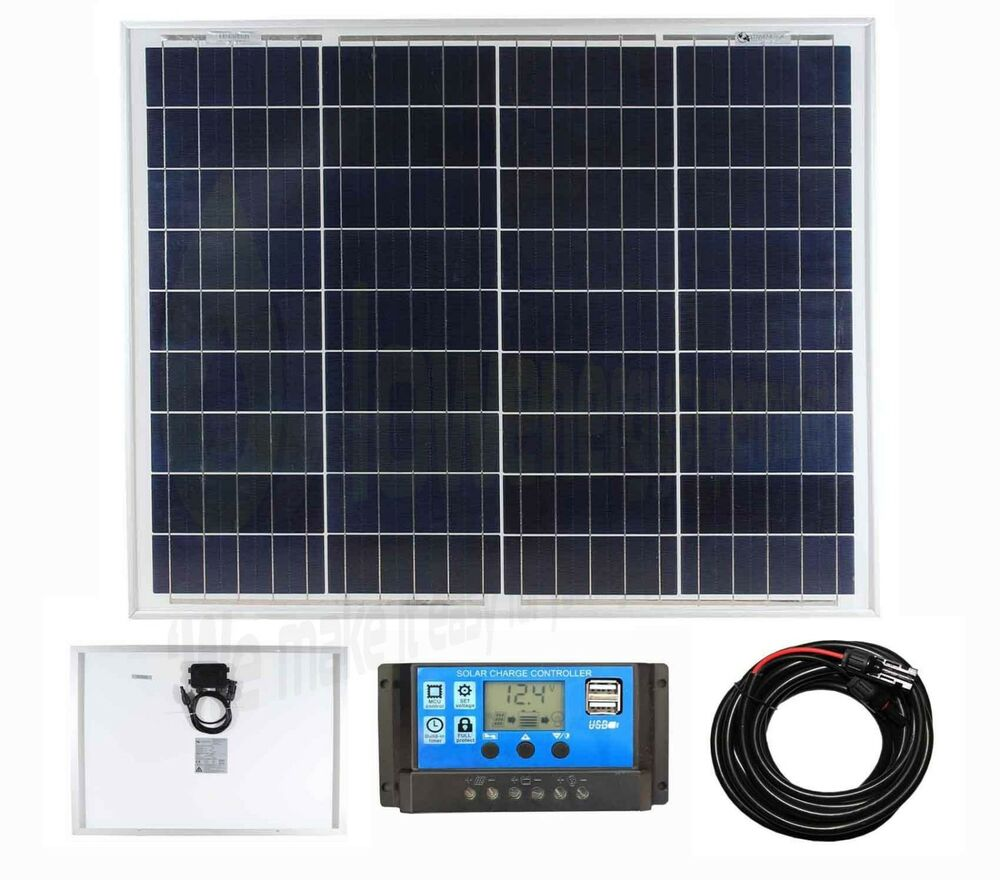 50w Poly Solar Panel Battery Charging Kit Charger