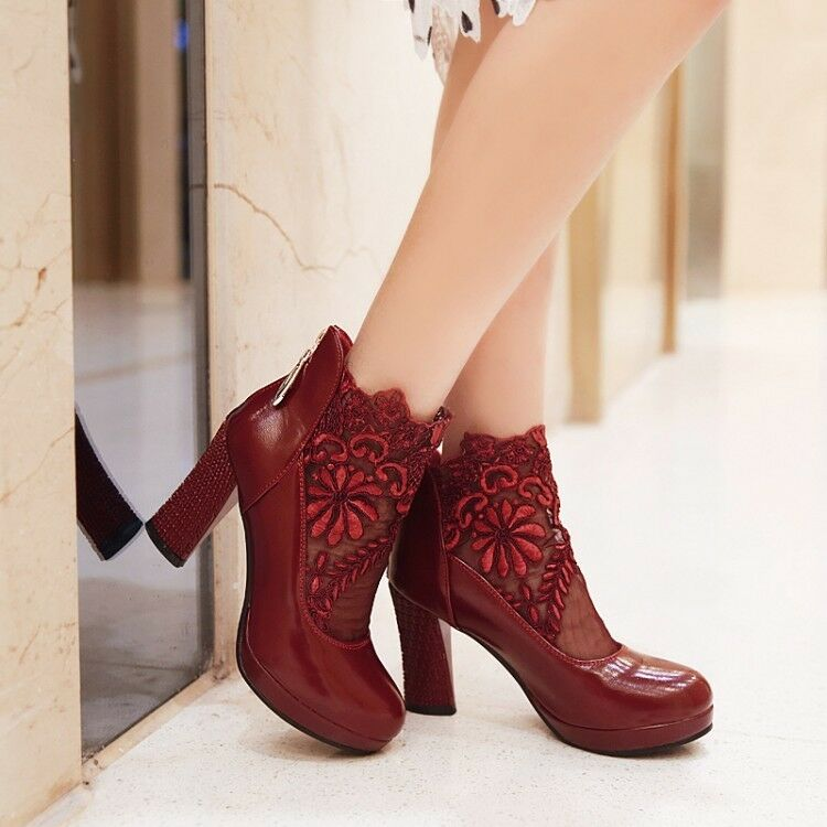 Summer Womens High Heels Sexy Mesh Lace Ankle Boots ...