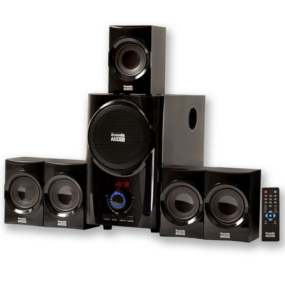 acoustic audio aa5160 home theater 5 1 speaker system with. Black Bedroom Furniture Sets. Home Design Ideas