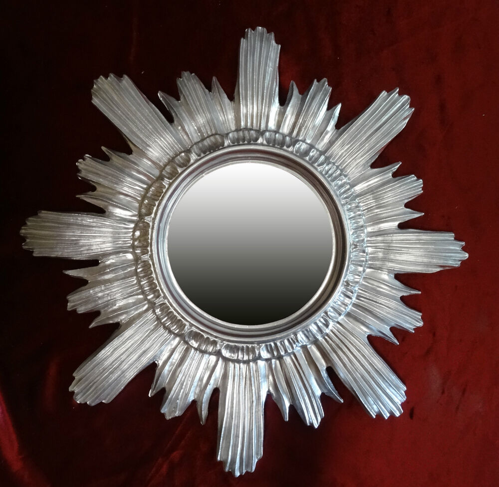baroque antique wall mirror sun silver 42x42 cm round