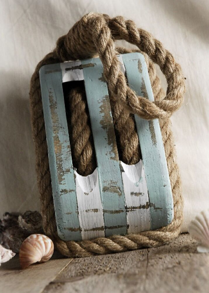 New large wood rope block tackle decor pulley nautical for Large nautical rope