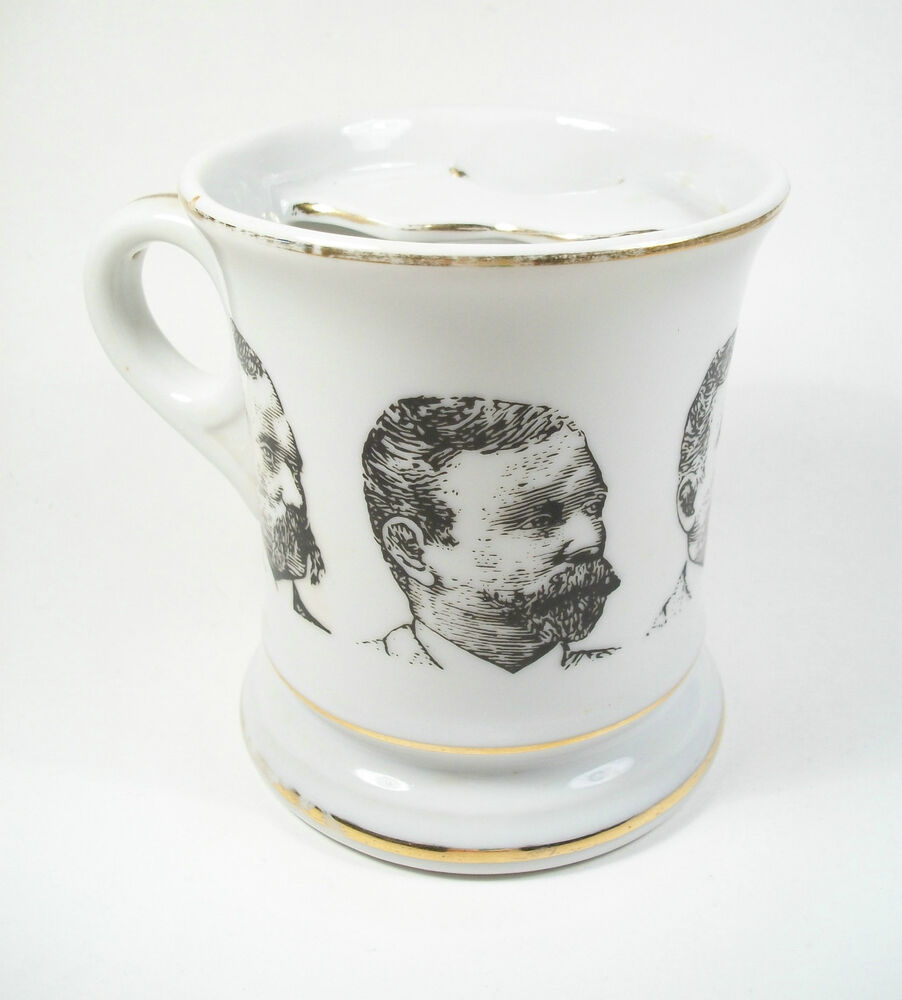 Victorian Glazed Ceramic Moustache Cup Transfer