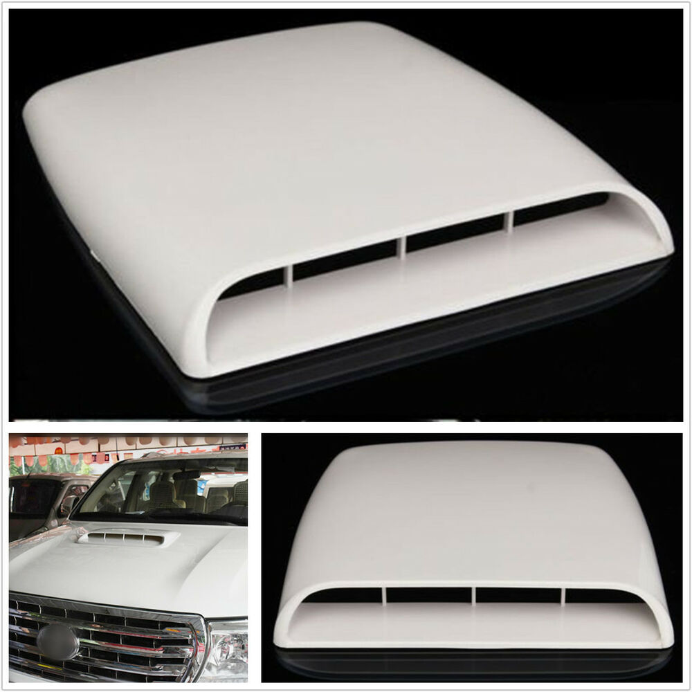 Air Scoops For Cars : White car suv decorative air flow intake hood scoop vent