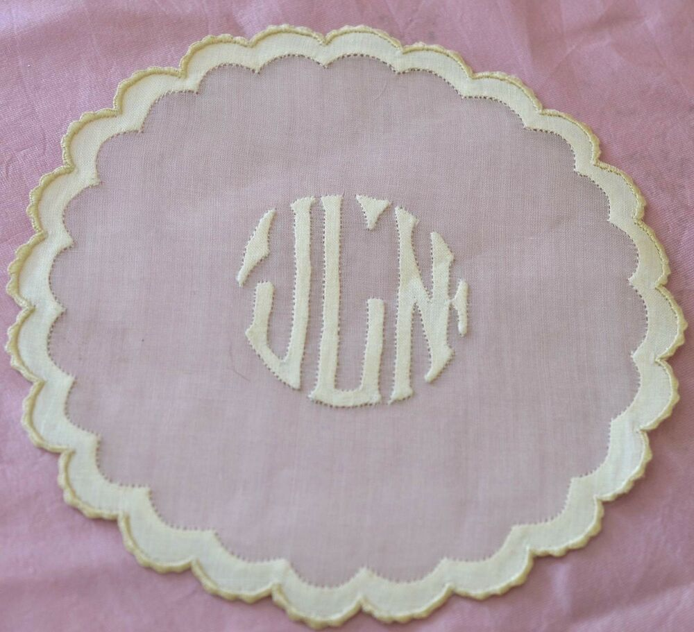 12 vintage linen madeira applique embroidered coasters for Applique vintage