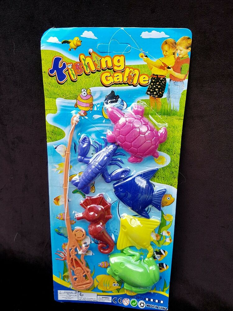 Magnetic fishing game set toy rod fish catch hook pull for Fishing toy set