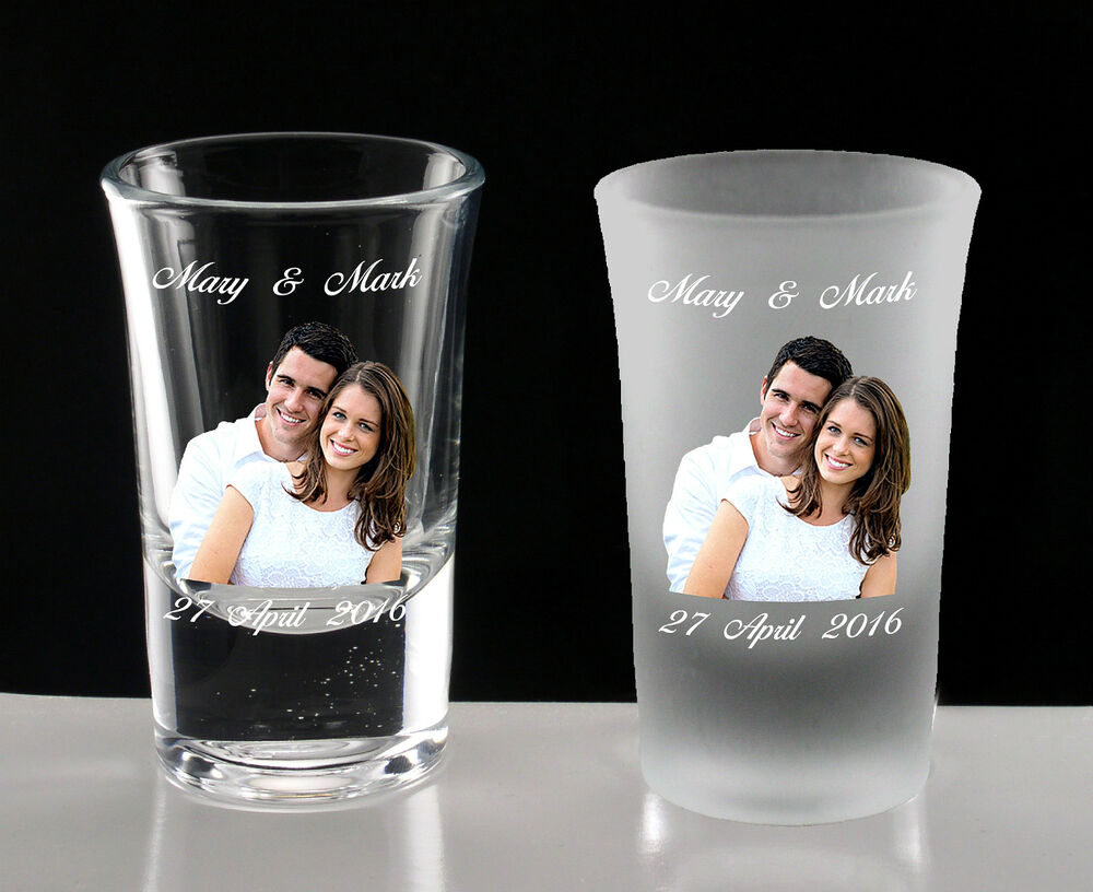 Personalised Wedding Gift Glasses : Personalised Wedding Shot Glasses Photo Dedication Bride Groom ...