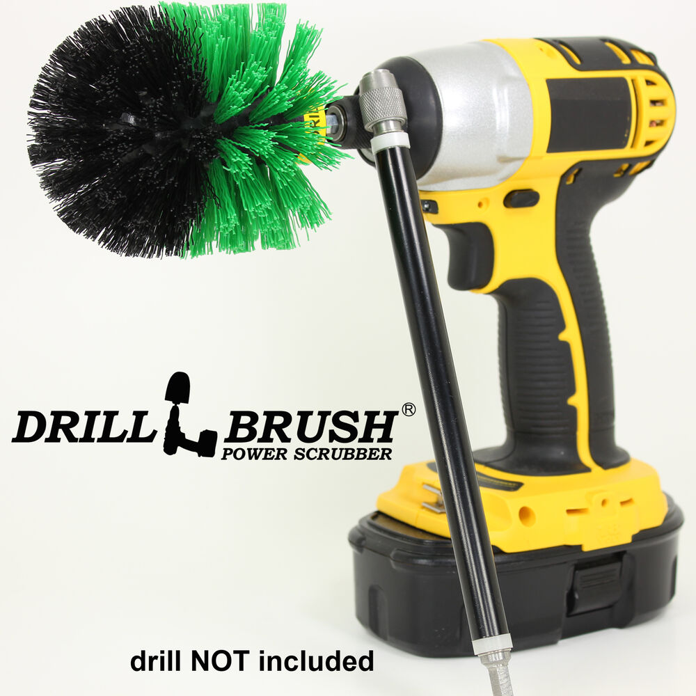 Drill Powered Kitchen And Bath Scrubbing Brush With Long