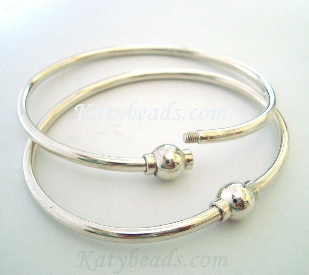 "7"" 925 Plain Sterling Silver Charm Bangle Screw Ball Clasp"