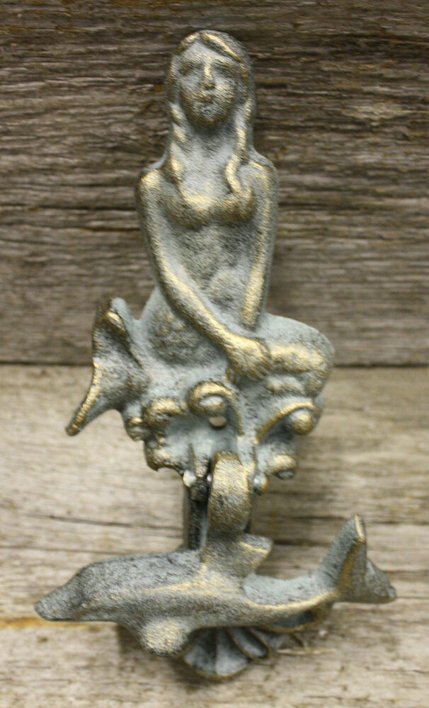 Cast iron antique style nautical mermaid dolphin door knocker green finish ebay - Mermaid door knocker ...