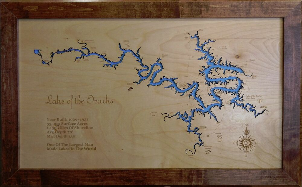 Wooden 2d Cut Engraved Lake Of The Ozarks Mo Map Framed