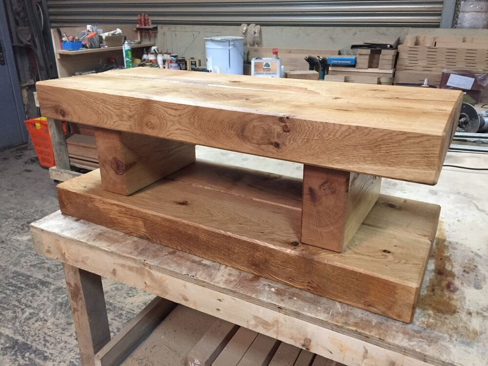 Chunky Rustic Solid Oak Sleeper Coffee Table TV Unit