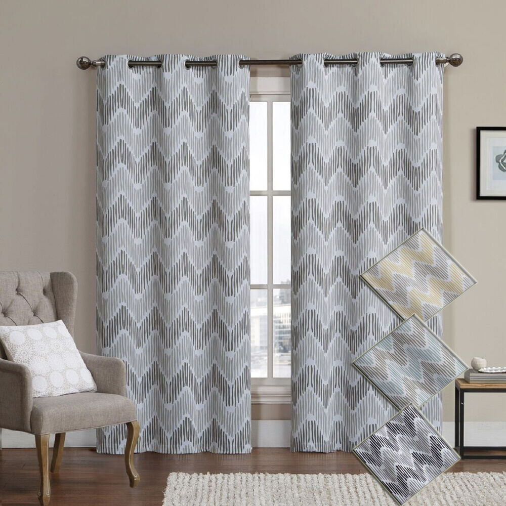 Marlie Woven Jacquard Insulated Blackout Casual And Contemporary Curtain Pair Ebay