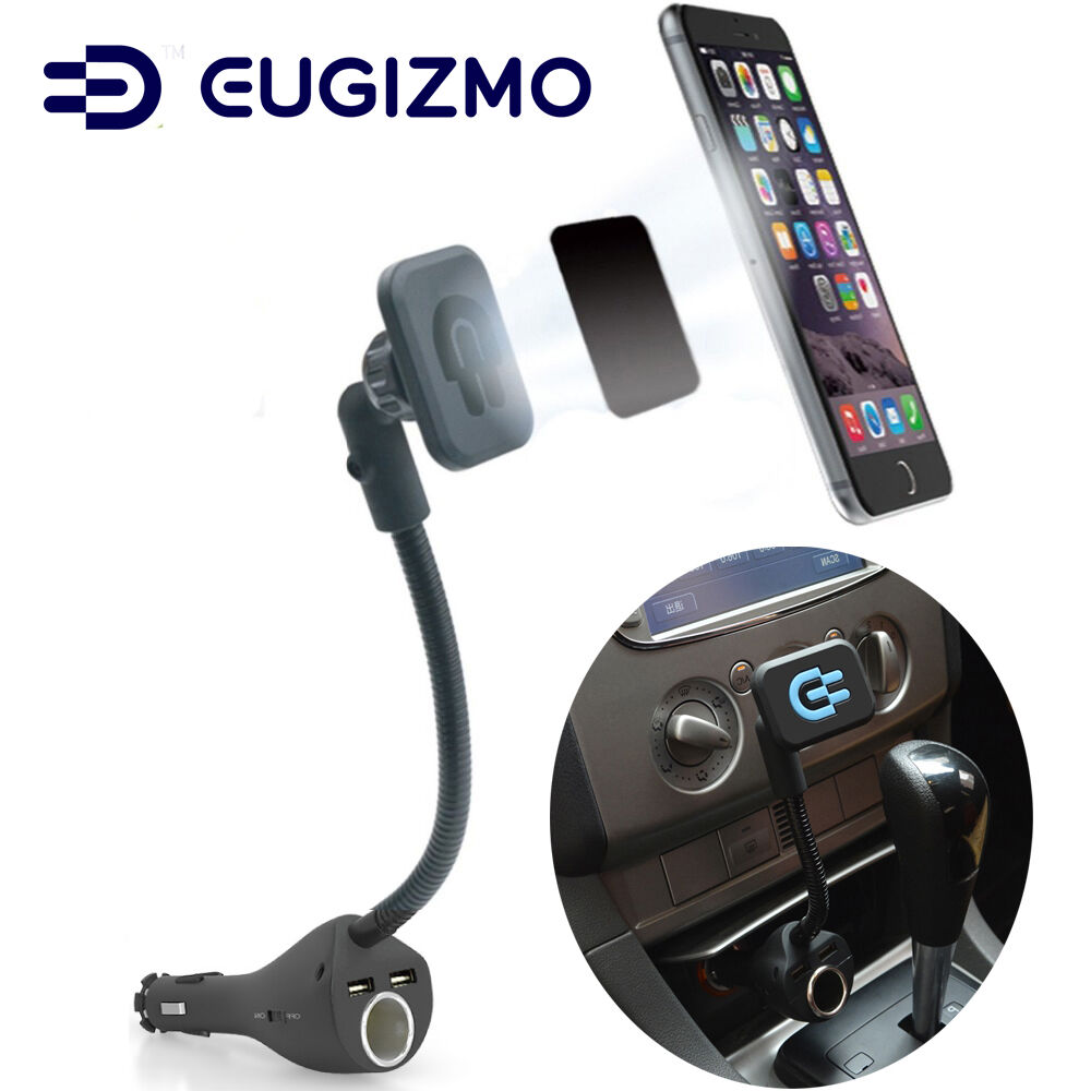 eugizmo car magnetic phone holder with dual usb port. Black Bedroom Furniture Sets. Home Design Ideas