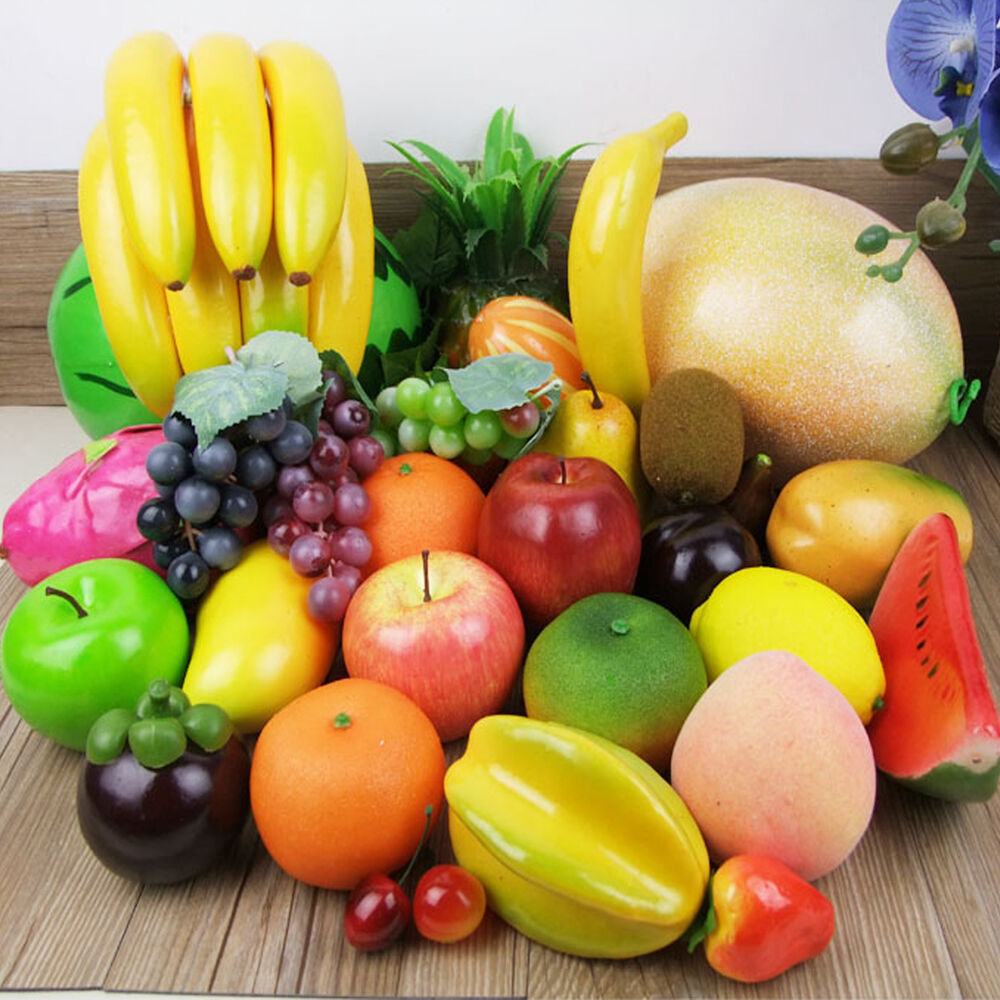 Realistic lifelike artificial plastic fruit kitchen fake for Decoration fruit