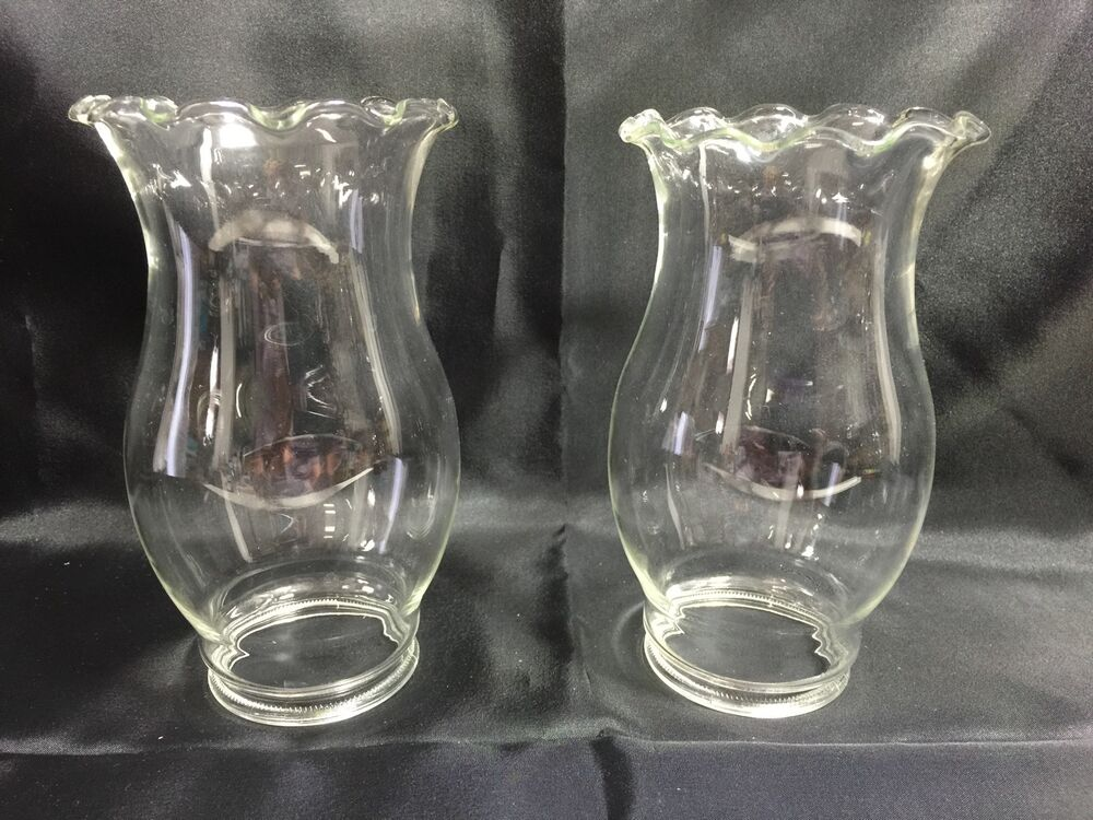 Lot Of2 Vintage Clear Glass With Curled Rim 6 Quot Kerosene