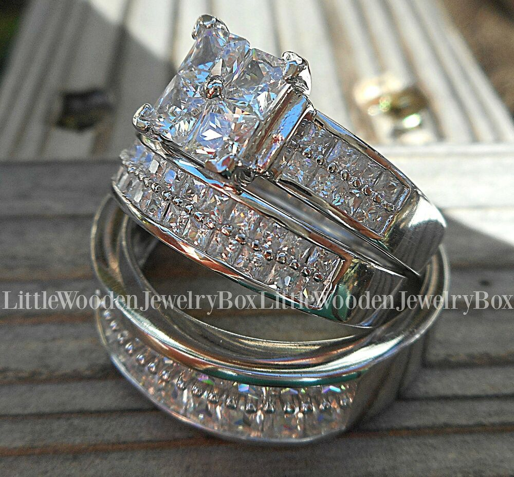 His hers 14k white gold 925 sterling silver engagement for Wedding bands and engagement ring sets