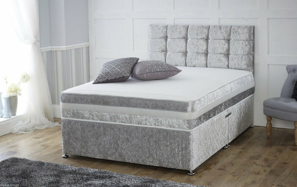 Crushed velvet divan bed memory mattress headboard 3ft for Grey divan king size bed