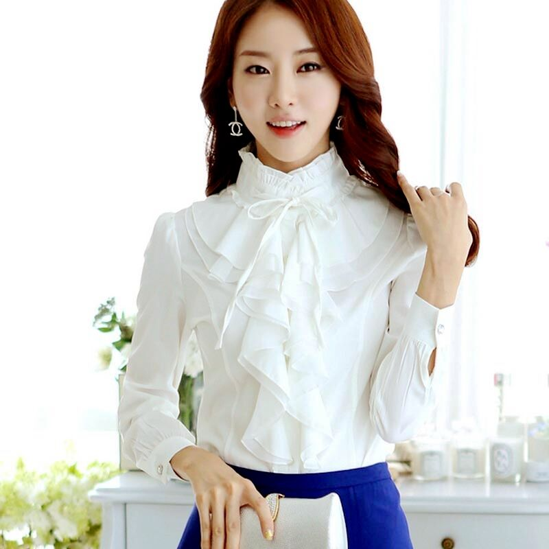 Stand Collar Neck Designs For Blouse : Elegant women stand collar ruffles long sleeve chiffon