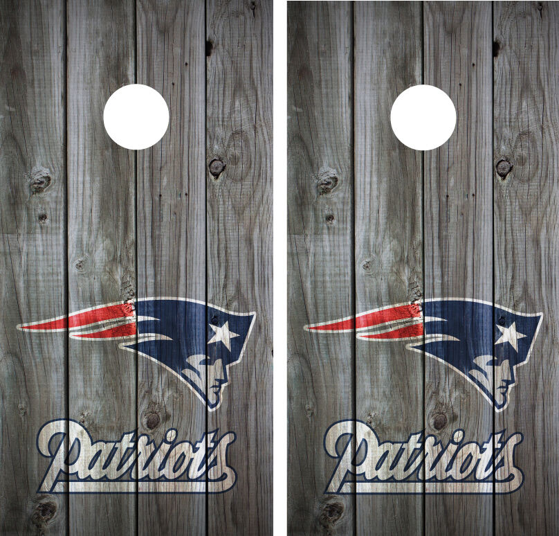 New England Patriots Vintage Wood Cornhole Board Decal