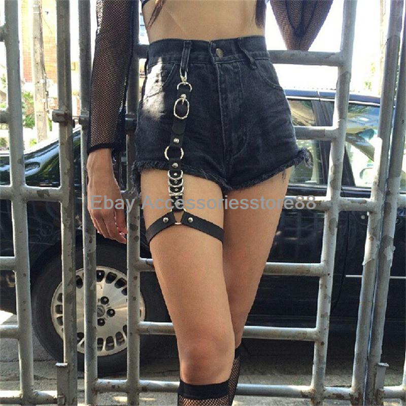 Handmade Punk Gothic Thigh High Leather Garter Belt