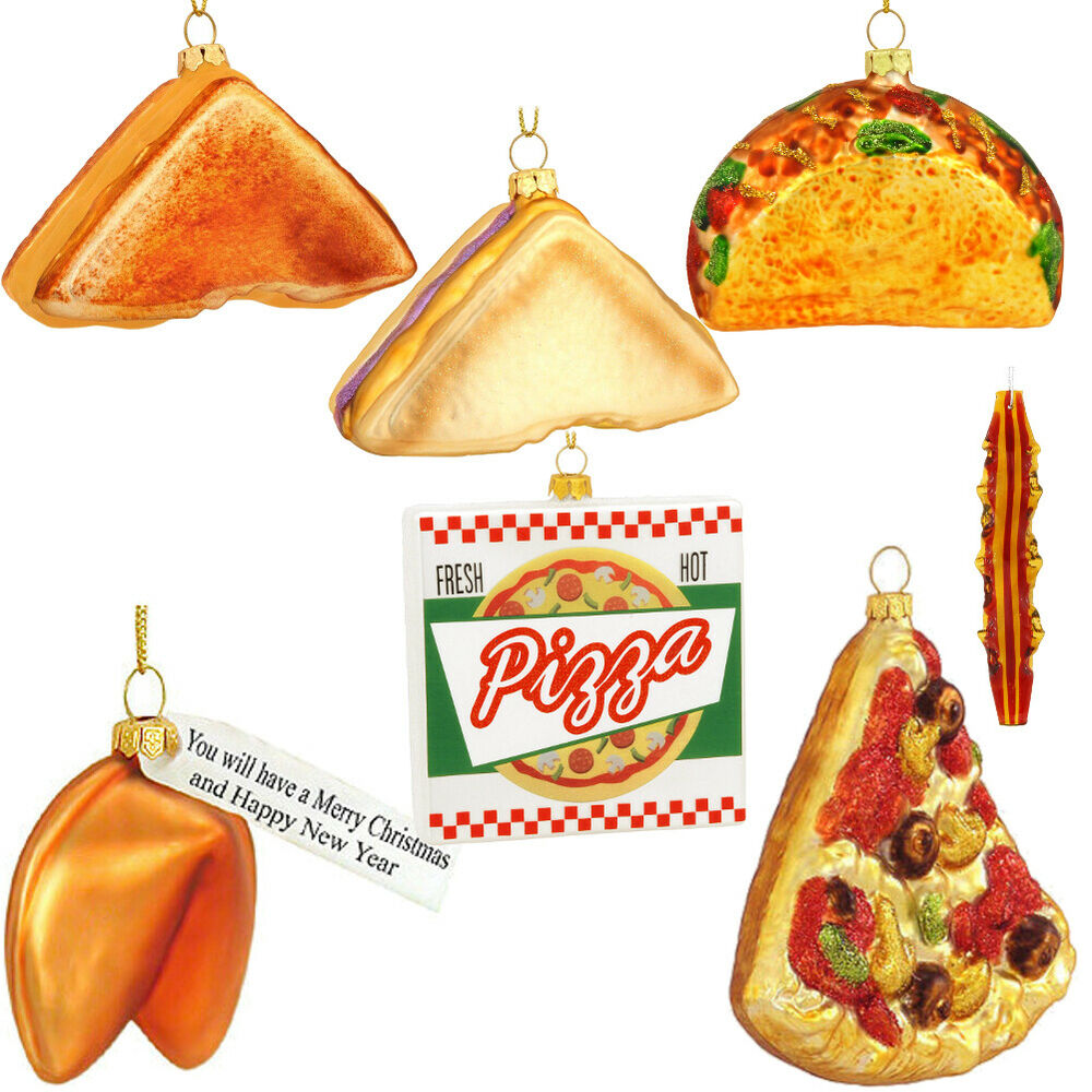 Food Ornaments Christmas: Glass Food Christmas Ornaments (Choose Your Food) Pizza