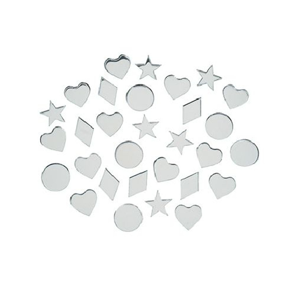 Small Mirror Pieces: Small Acrylic Craft Mirrors Shapes Tiles Heart, Star