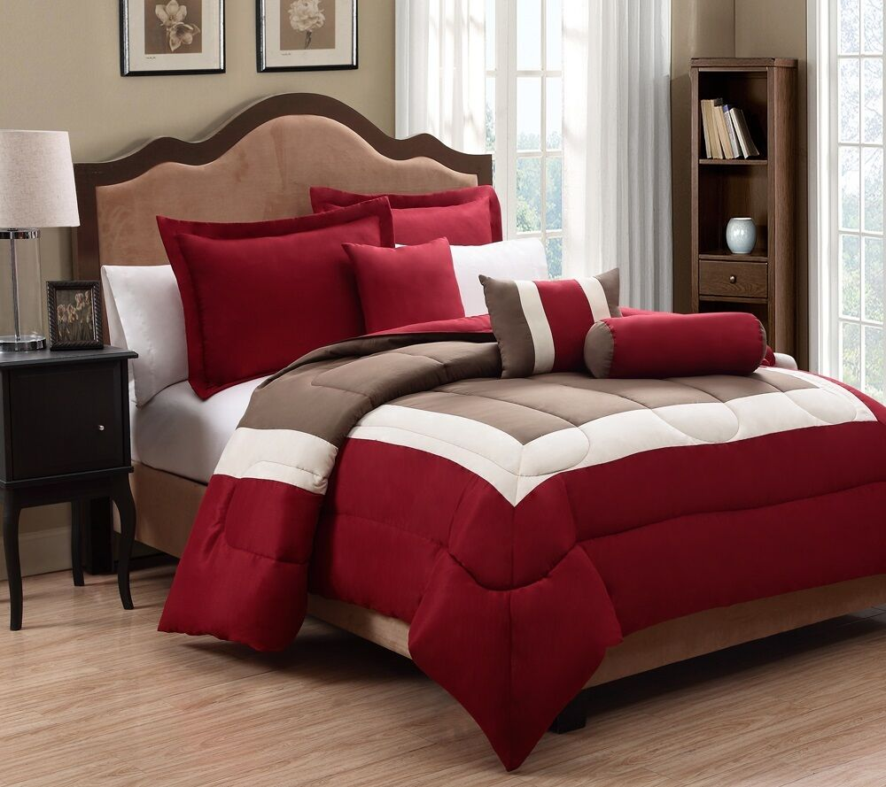 6 Piece Tranquil Red And Taupe Comforter Set